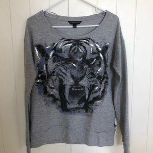 Gray tiger graphic sweatshirt
